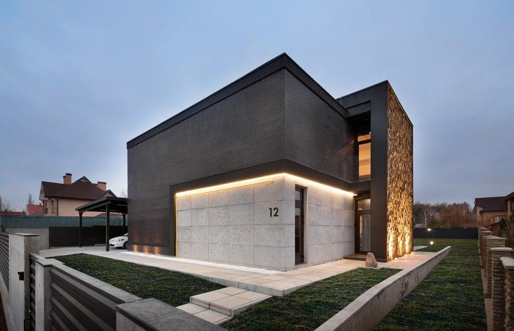 Moderne Fassade moderne fassade in schwarz und beton led beleuchtung haus