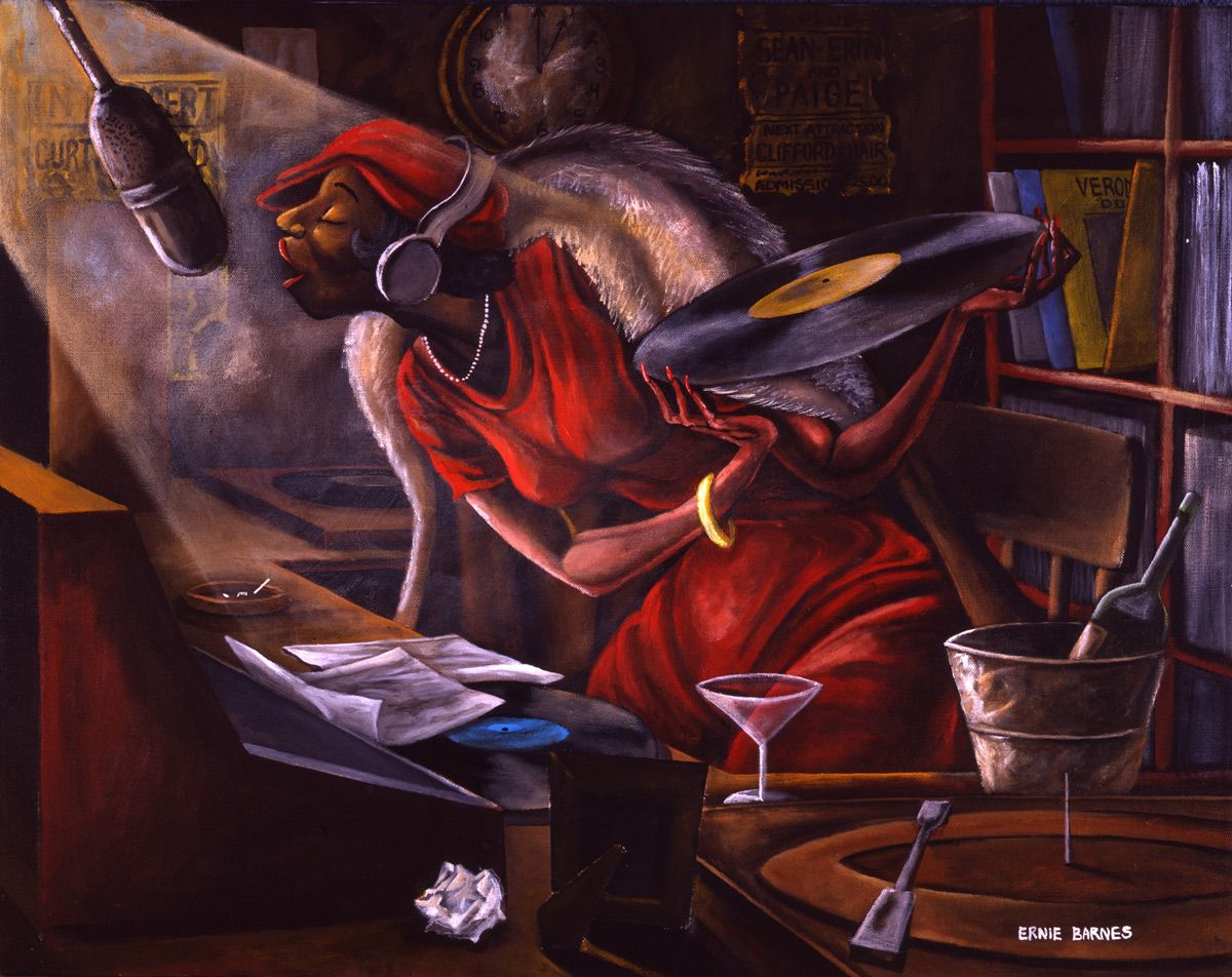 Ernie Barnes Late Night Dj 1980 Acrylic Canvas