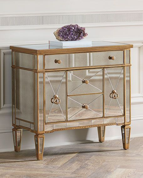 Charmant Amelie Mirrored Five Drawer Chest