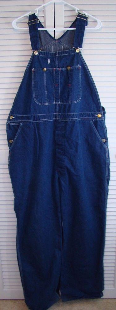 Dickies Bib Overall Mens 44x30 Blue Jean Denim 100% Cotton Gold Buckles  #Dickies