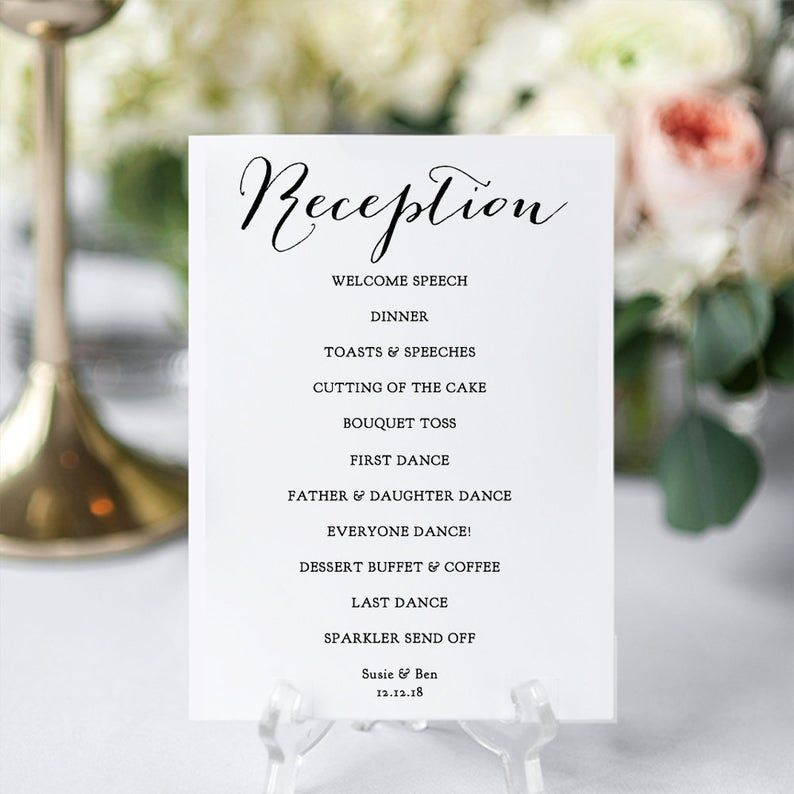 Reception Program Printable Diy Wedding Reception Card In 6 Etsy In 2020 Wedding Reception Program Wedding Reception Cards Diy Wedding Reception
