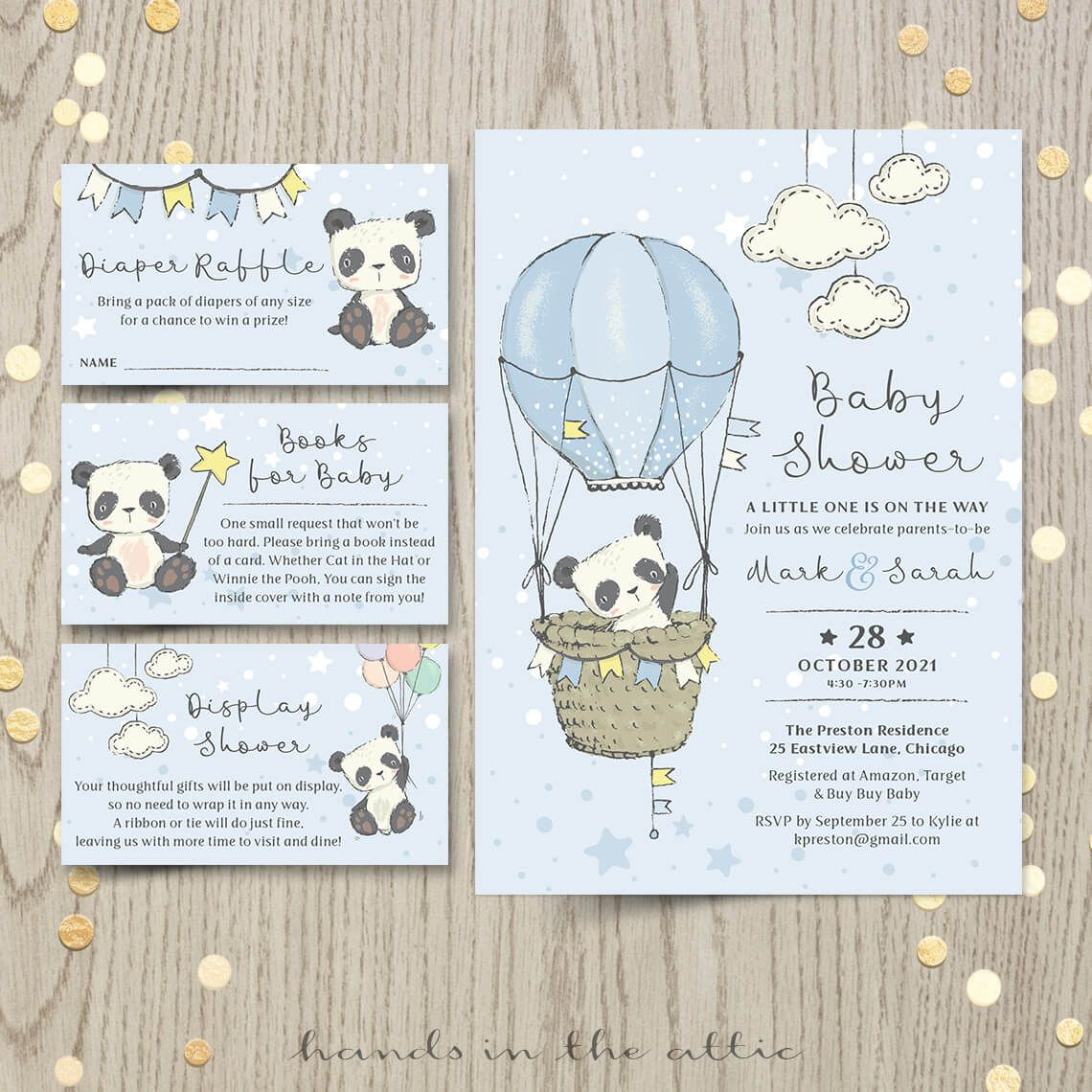Little Panda Bear Baby Shower Invitation #babypandas
