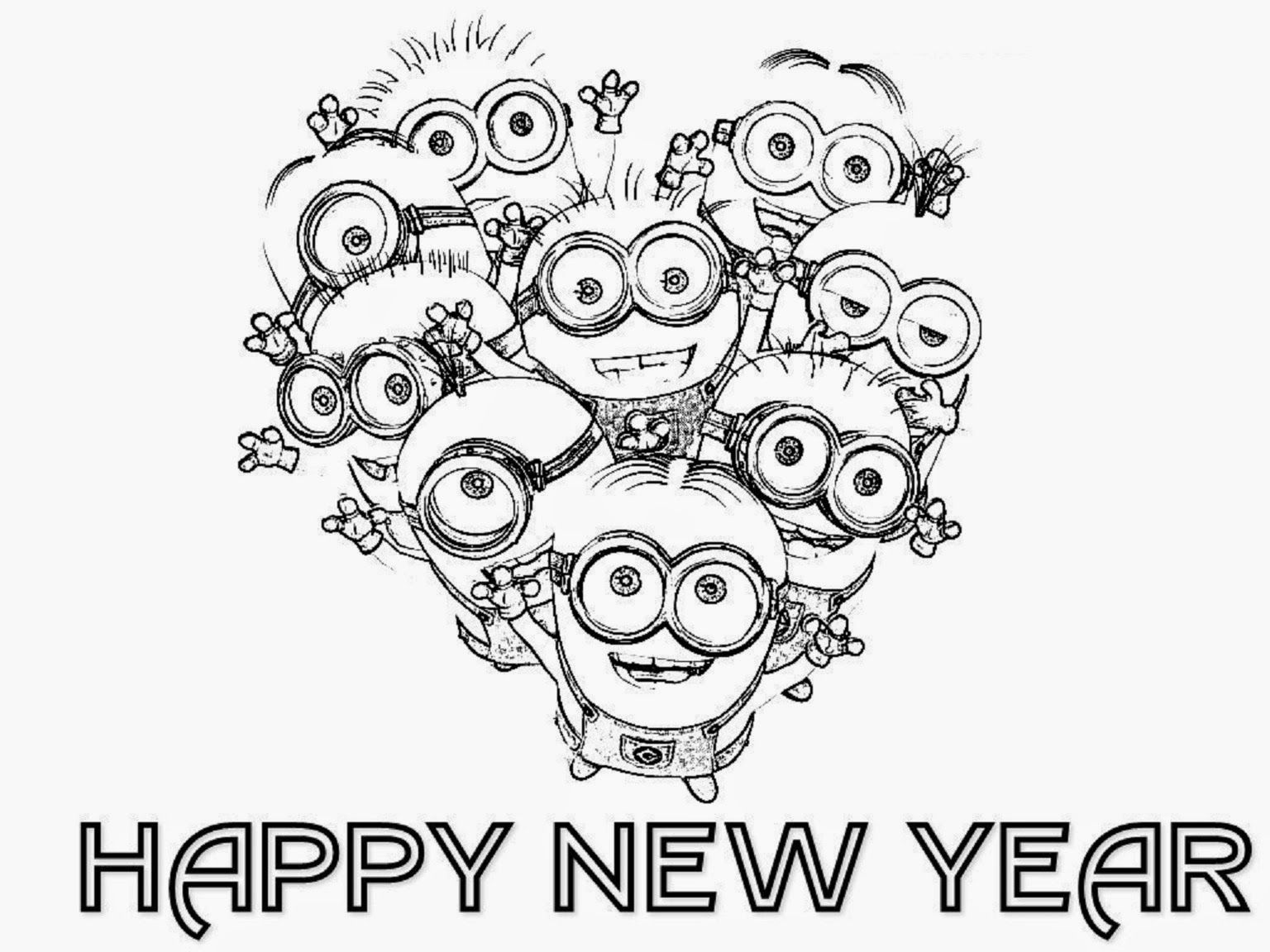 minion happy new year coloring page for kids - New Year Coloring Pages
