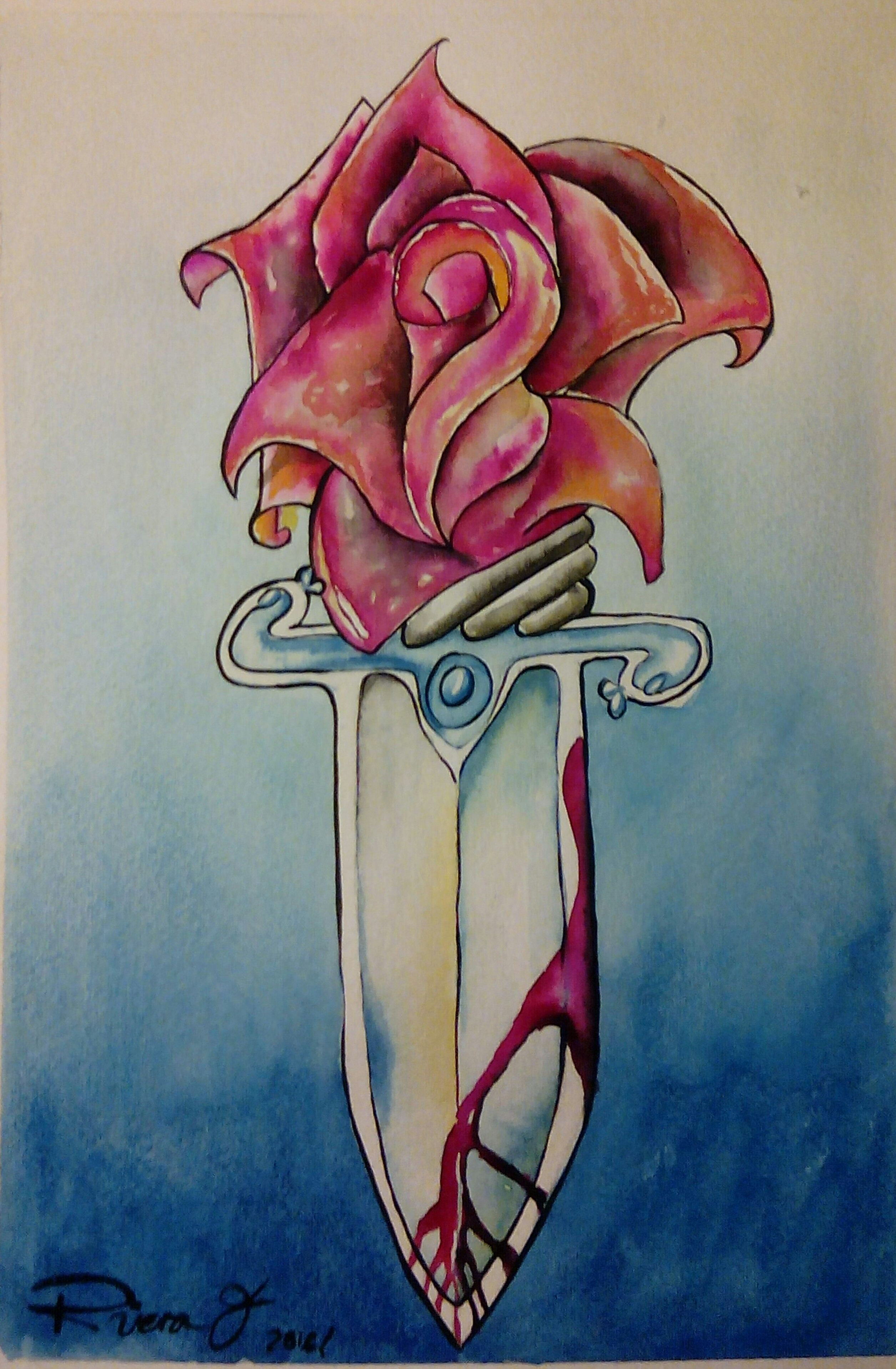 Rose with Knife.  Acuarela s/ Gvarro. 11 in X 15 in. Rivera Fernández 2016