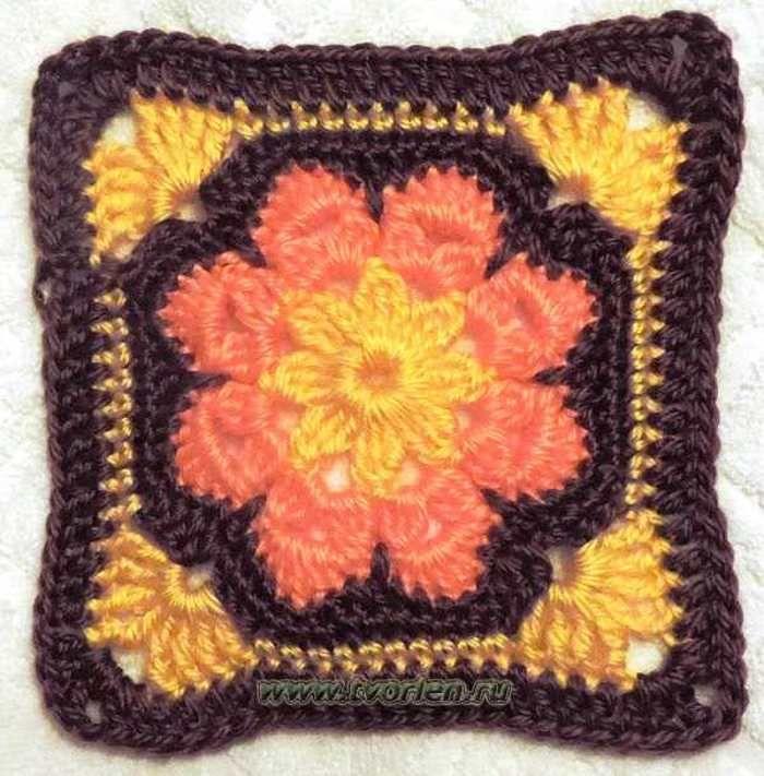 ccea98039623 Большой квадратный мотив африканский цветок - Творим - не ленимся ...