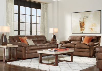 Terrific Aventino Tobacco Leather 3 Pc Living Room Living Room Gmtry Best Dining Table And Chair Ideas Images Gmtryco
