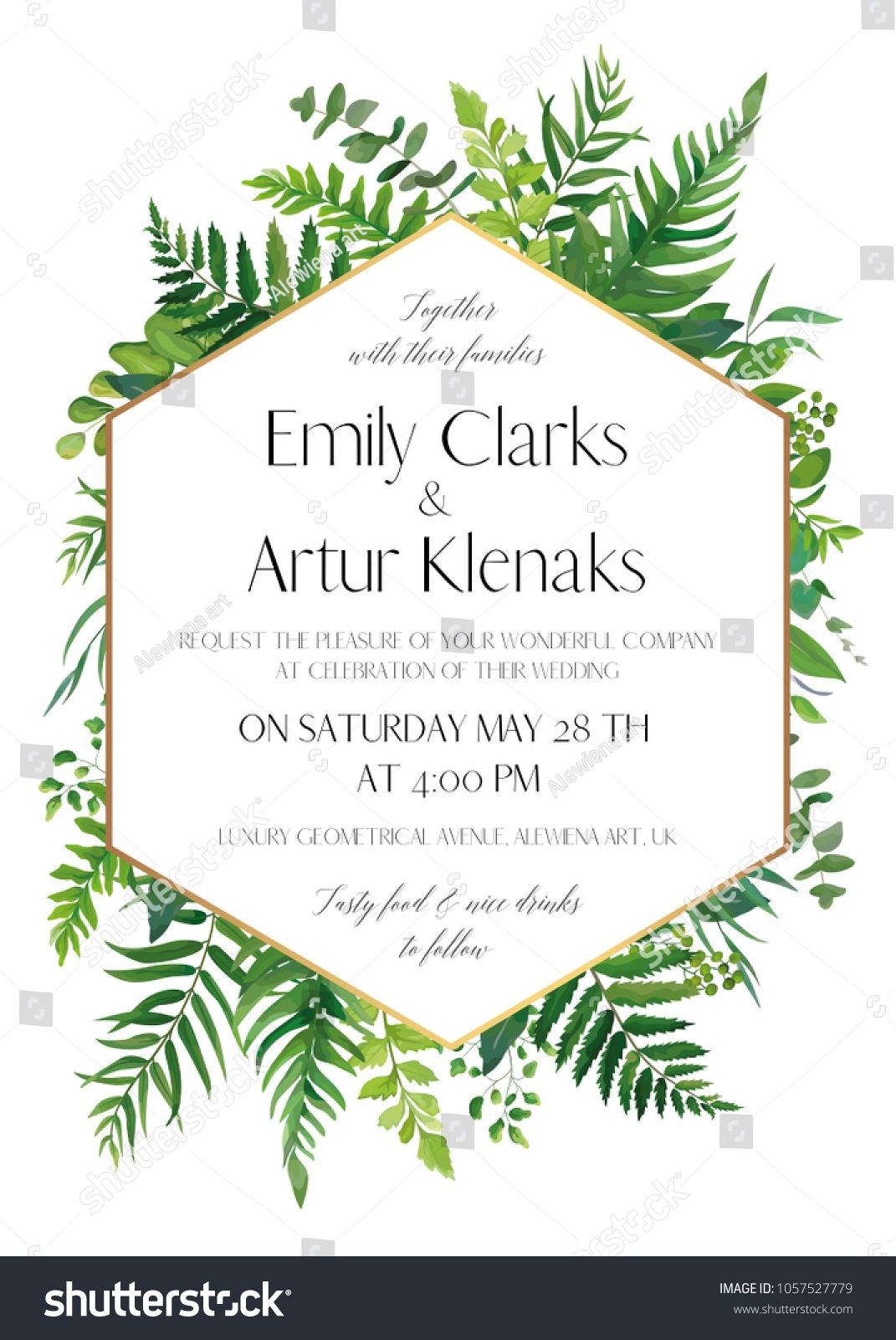 Wedding floral invitation invite card vector modern elegant design wedding floral invitation invite card vector modern elegant design with natural botanical green forest stopboris Images