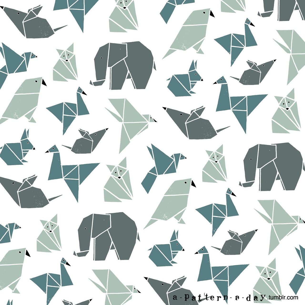 Origami animals pattern illustration pinterest origami