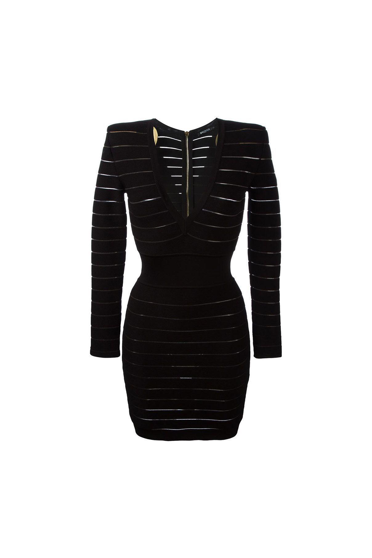 Balmain clothing dress deep vneck sheer striped dress