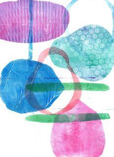 Easy Gelli Plate Prints:  Paper masks, a few drops of paint.