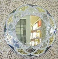 Blossom Shape Frame Mosaic Mirror Home Decor #vintagemaya #mosaic #handcraft #blossom shape mosaic #mirror #home decor