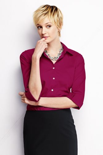 Noreen Carmody in a Women's 3/4-sleeve Modern Broadcloth Shirt from Lands' End