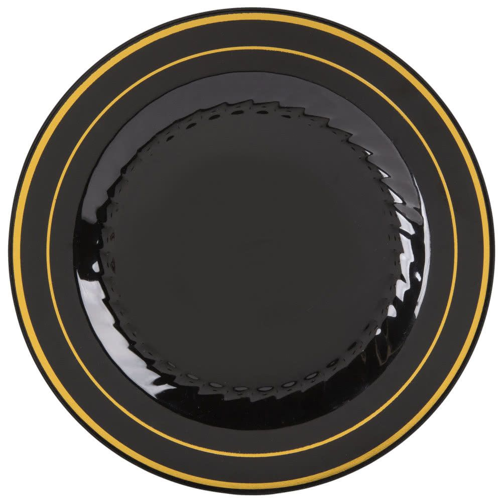 Fineline Silver Splendor 506-BKG 6\  Black Customizable Plastic Plate with Gold Bands - 150/Case  sc 1 st  Pinterest & Fineline Silver Splendor 506-BKG 6\