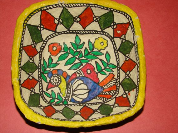 Paper Mache Madhubani Bowl from Bihar in East India by StoreUtsav $20.37  sc 1 st  Pinterest : paper mache plates and bowls - pezcame.com