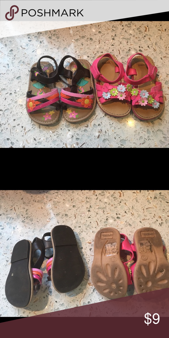 4fc57adc12413 Two Pair Toddler Girl Sandals Size 6 Brown Pair are Dora the Explorer Pink  Pair are Gymboree Shoes Sandals & Flip Flops