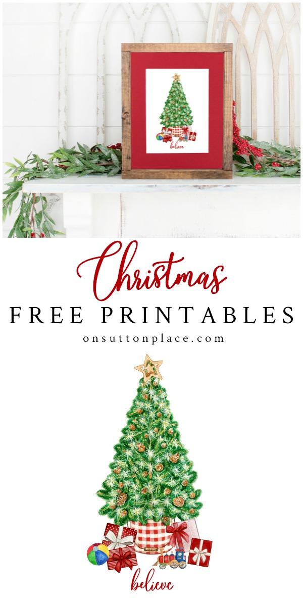 Christmas Frames Printables Decorations Ideas 2020 Free Printable Art for Christmas Wall Decor in 2020 | Christmas