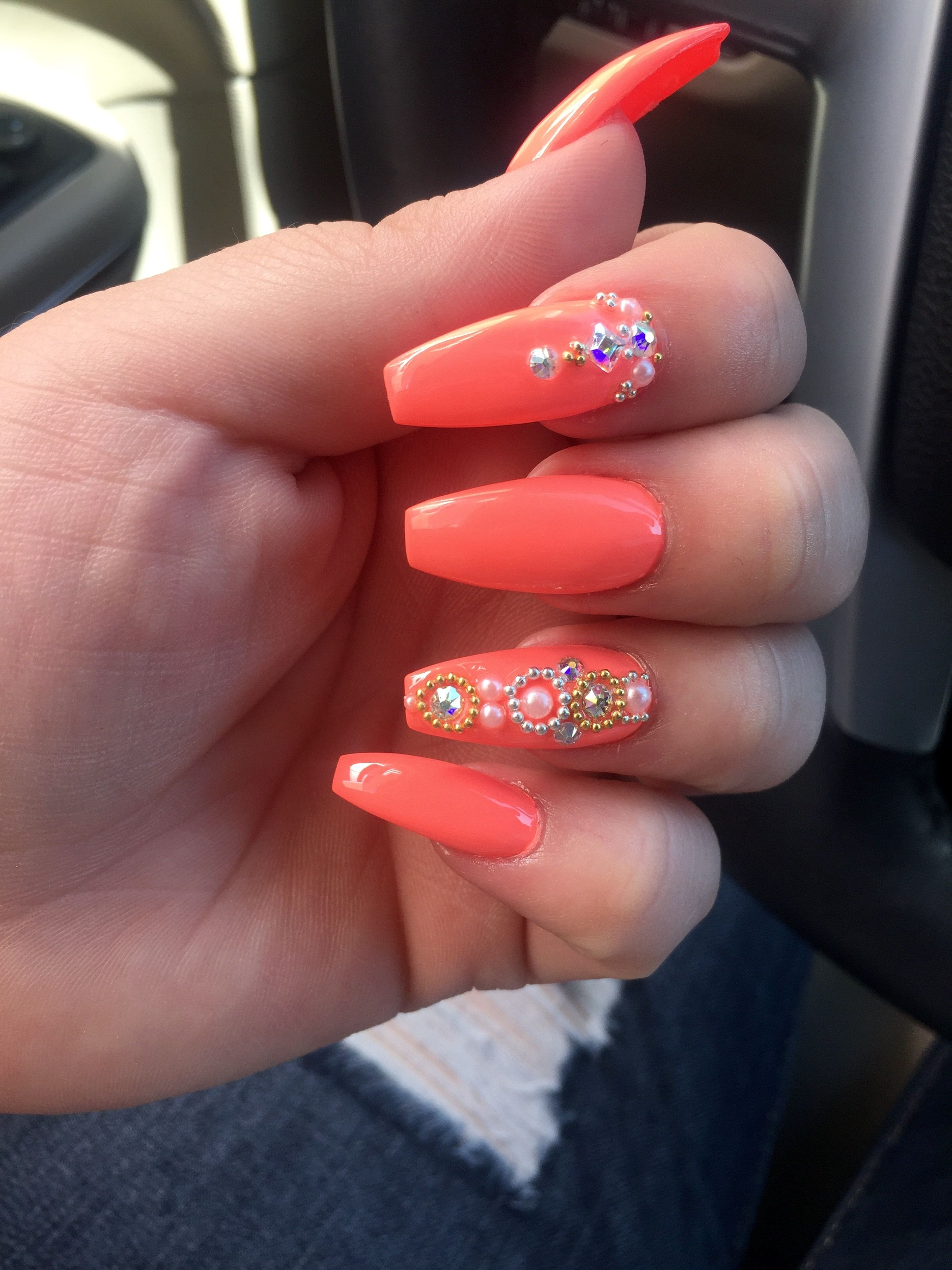 My New Nail Set Coffin Shaped Bright Coral Color With Design On
