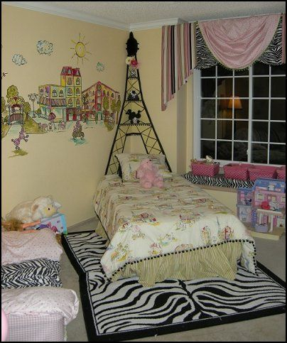French Style With Wild Zebra Stripes Paris Themed Bedroom