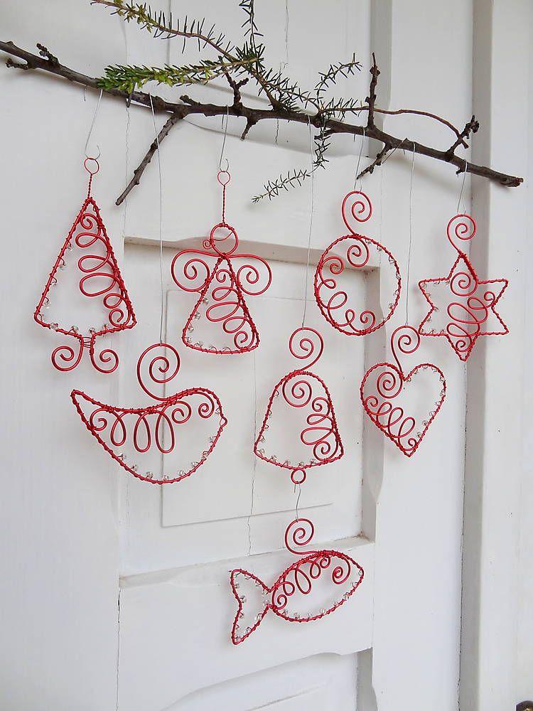 Dekorácie - červené vianoce drôtom maľované... sada - 5889702_