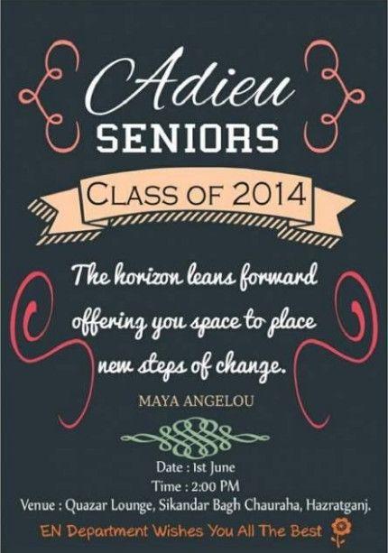 invitation card for farewell party for seniors invitation