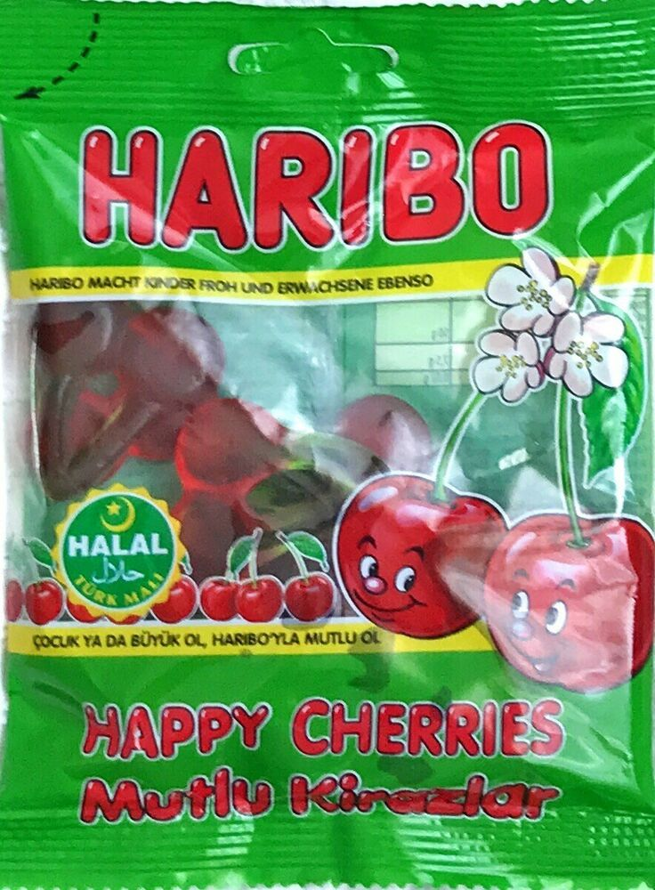 HALAL HARIBO HAPPY CHERRIES GUMMI CANDY. 100% HALAL. 80G PER BAG. MADE IN TURKEY.