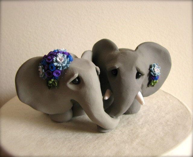 Elephant Love Wedding Cake Topper 170 00 Via Etsy