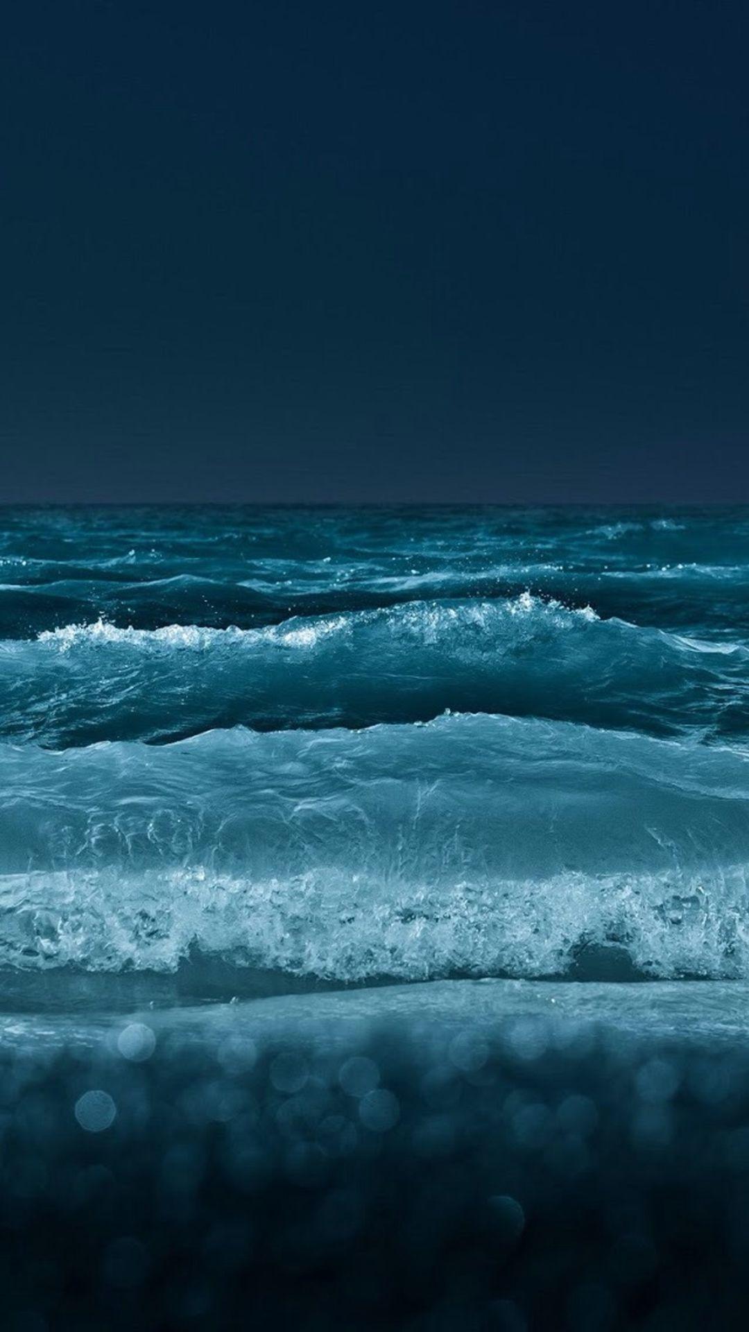 Nature Night Ocean Beach Wave Bokeh Iphone 8 Wallpapers Ocean