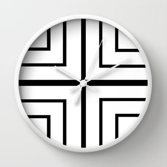 Square Black And White Wall Clock Pillow Abstract