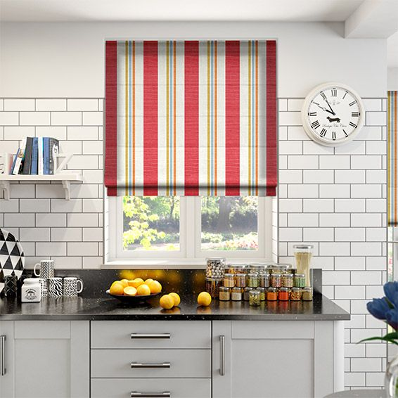 Superior Truro Stripe Candy Red Roman Blind
