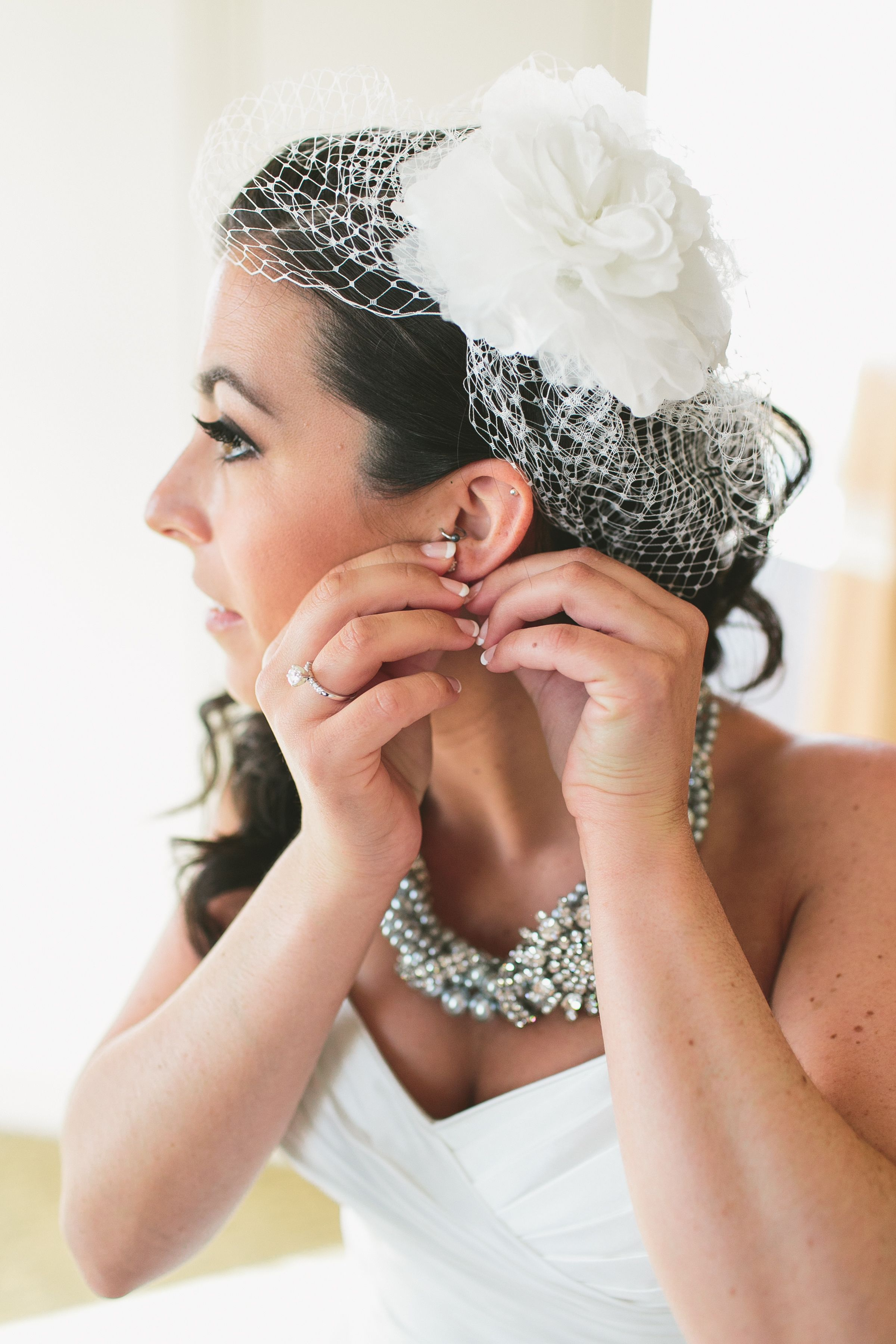 white birdcage veil with fabric peony | hair/makeup
