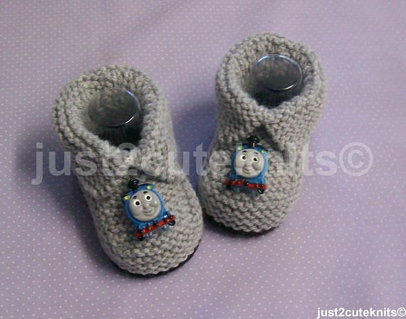 Hand Knitted Designer Baby Boy Booties Slippers Thomas The