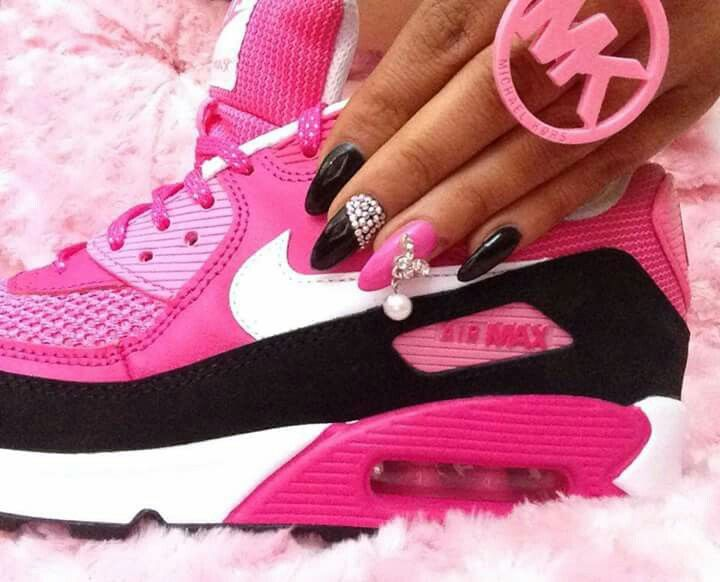 Nike Air Max Ongles Noir Et Rose Et Blanc