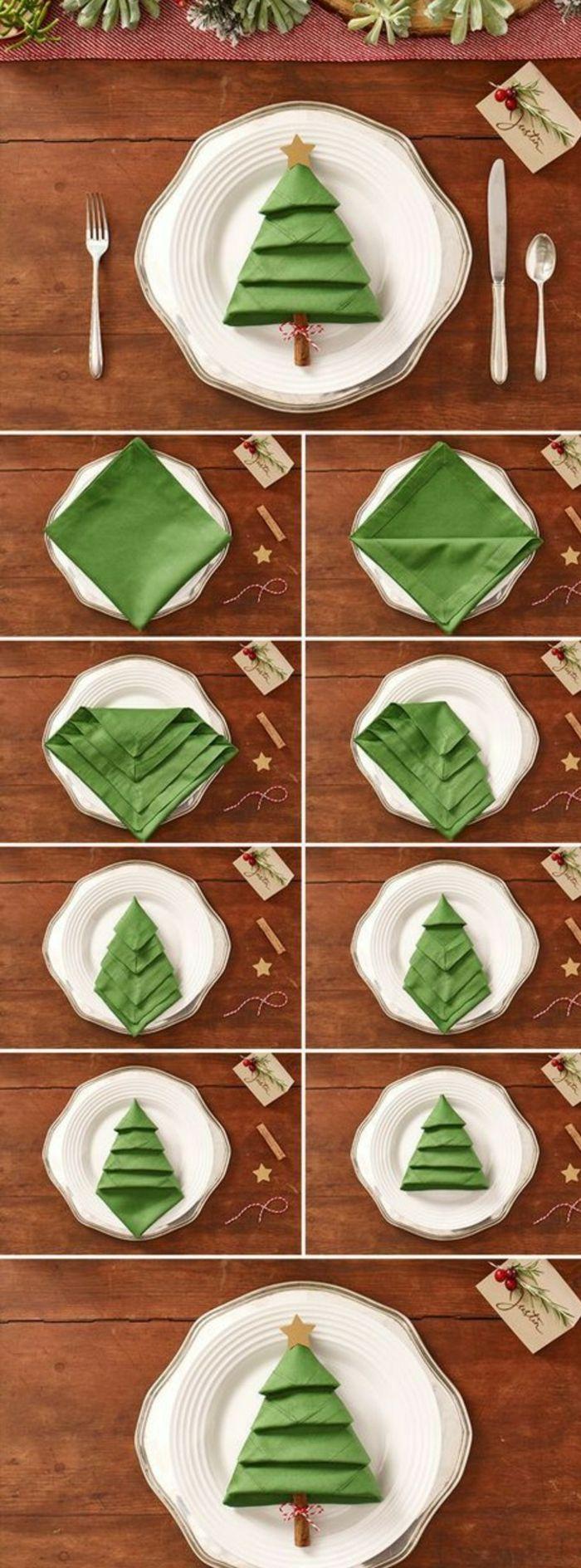 Centre De Table Noel Pliage Serviette Verte En Forme Sapin Dans Une  Assiette Comment Disposer Les