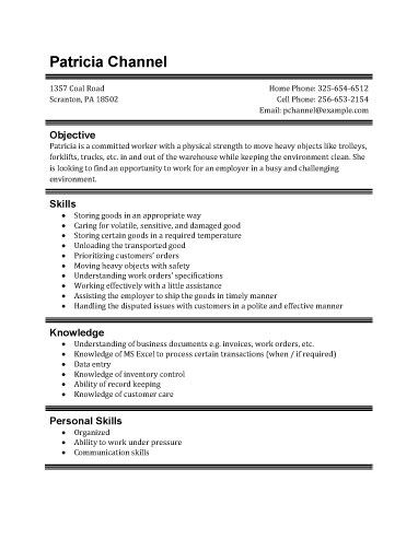 Resume Template For Warehouse Position