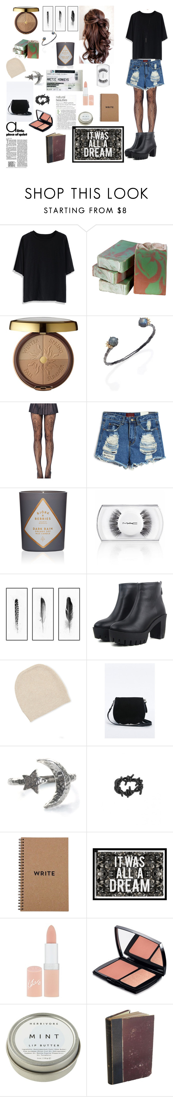 """""""Untitled #29"""" by notworthrepeating ❤ liked on Polyvore featuring Chicwish, Dot & Bo, Physicians Formula, Alexis Bittar, MAC Cosmetics, White + Warren, Barbed, Oliver Gal Artist Co., Rimmel and Lancôme"""