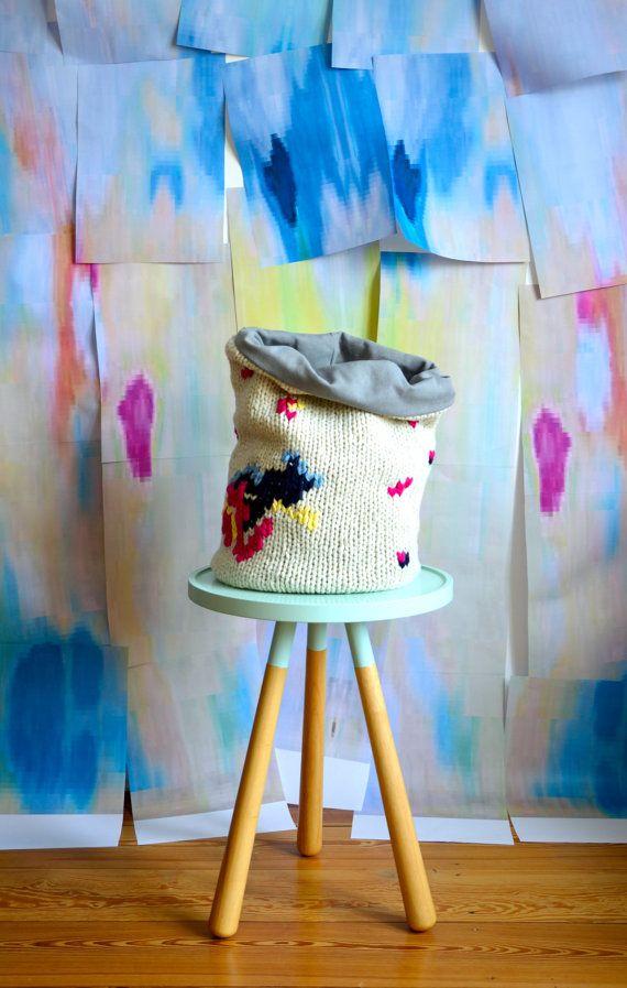 Splash Hand Knitted Storage Bin Lambswool Knit By Hjartslag