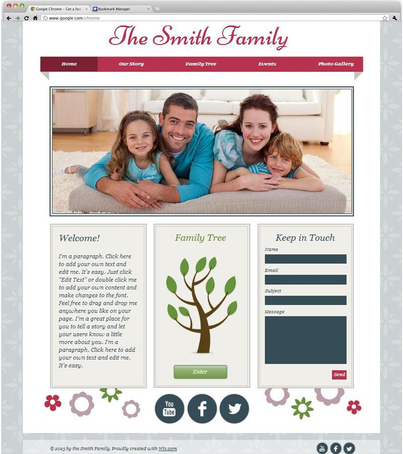 An easily customizable website template helps you take your family ...
