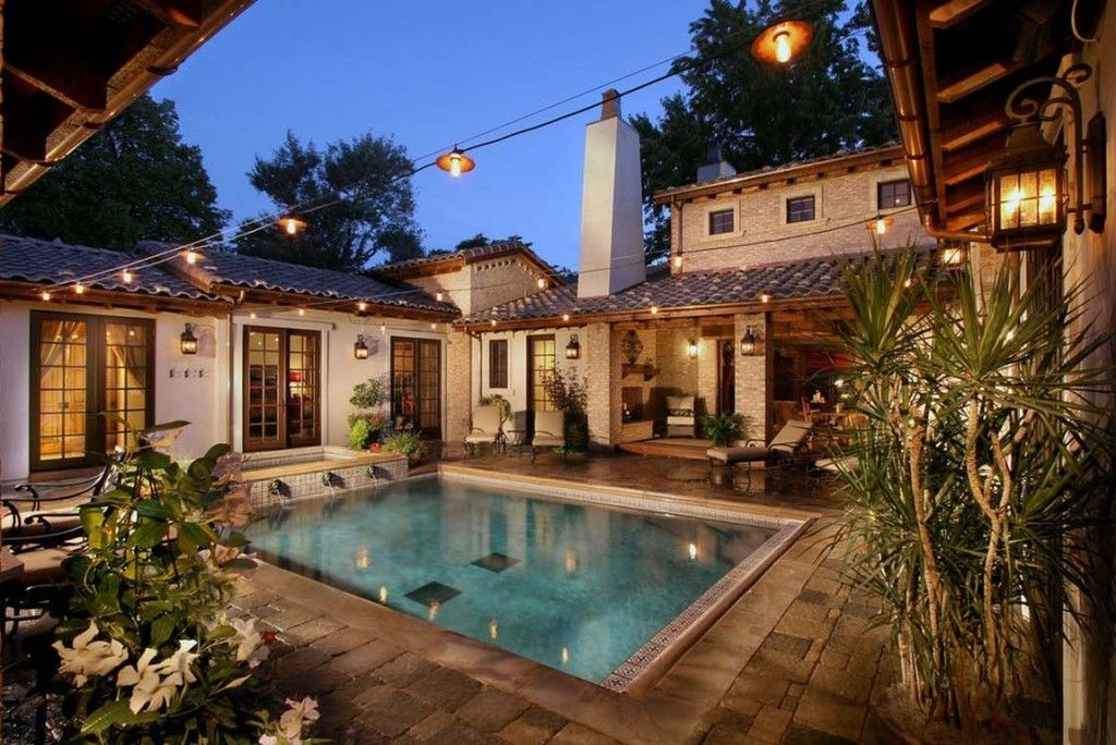 Central Courtyard House Plans With Pool Home Decorating Ideas Courtyard House Plans Pool House Plans Hacienda Style Homes