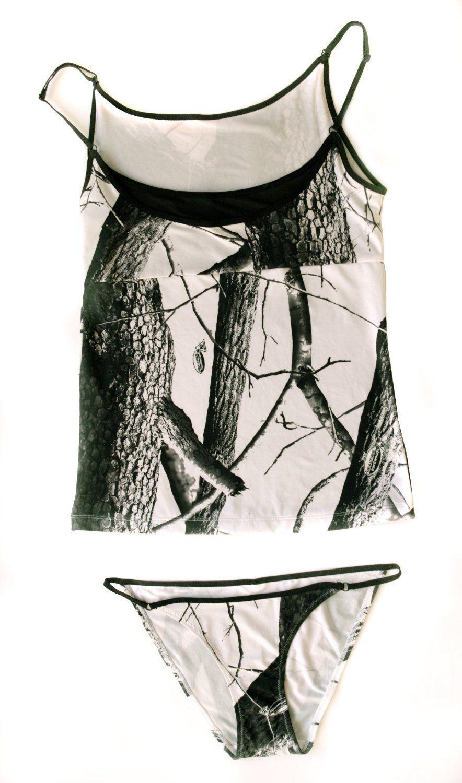 Realtree womenus layered cami with string bikini country gal