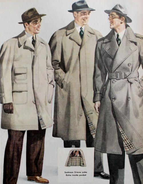 b5bd021ba5ee 1940s men s light coats- Duster (L) and Trench (R)
