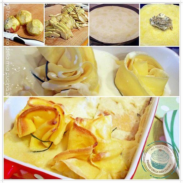 ©Diario della Mia Cucina - Ricette semplici, veloci e golose: Fagottini di crepes con carciofi e camoscio d'oro con besciamella al timo