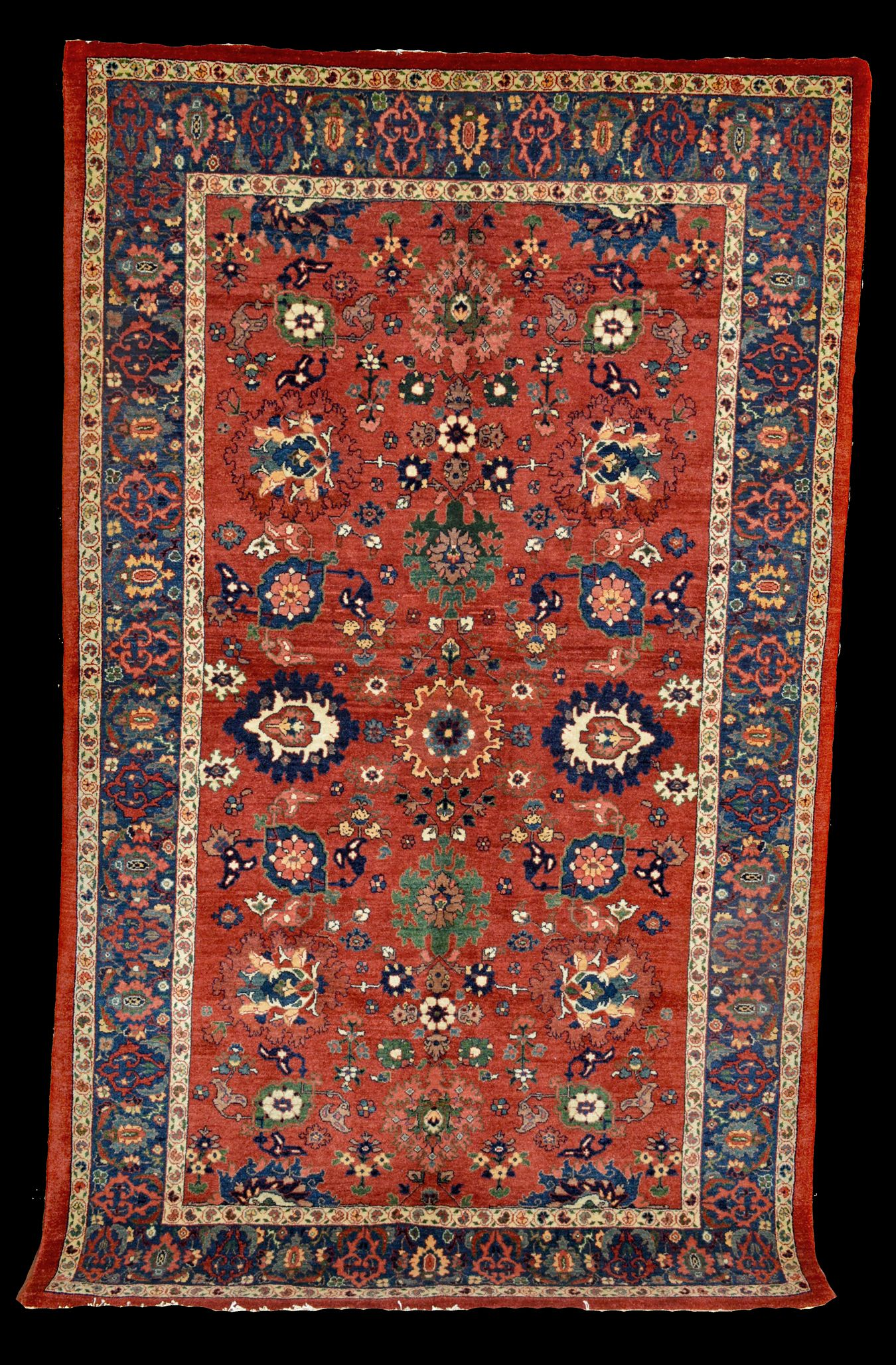 A Contemporary Genuine Persian Bidjar Rug With The Harshang Design On Terra Cotta Color Field New Natural Dye Oriental Rugs Boston Ma Area Natick