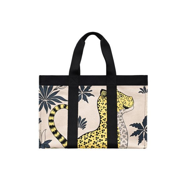 Cotton Maxi Shopping Bag I Love Leopards