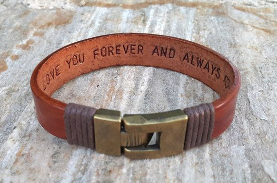 5608bec242a51 Gift For Boyfriend Fathers Day Gift for Him Personalized Gift Hidden Secret  Message Bracelet Mens Gift Personalized Leather Bracelet Mens