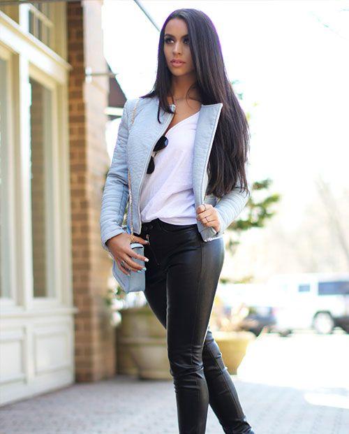 9187704607e Zara Baby Blue Leather Jacket + Black Leather Pants