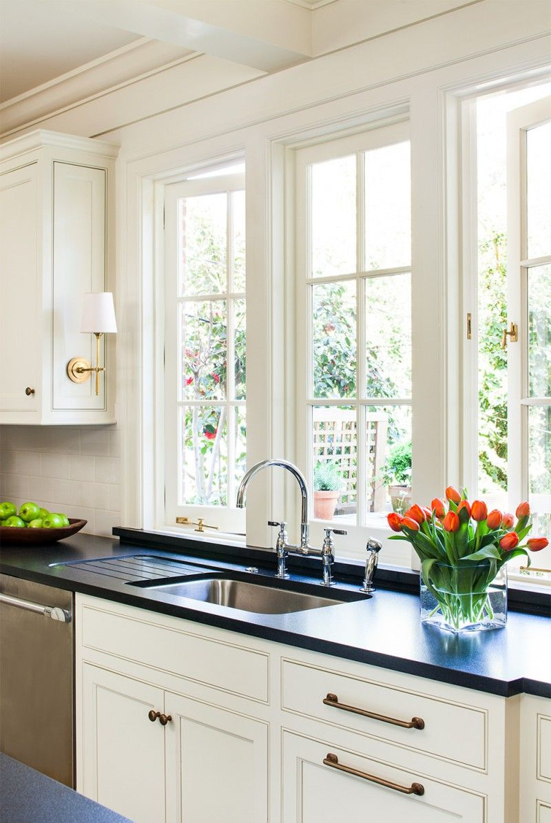 Sconces On Cabinets Above Kitchen Sink Window White Cottage Kitchens Cottage Style Kitchen Cottage Kitchen Sinks