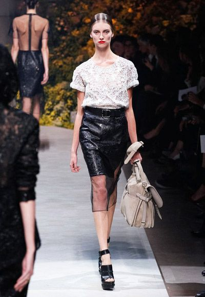 Leather under Sheer Chiffon ,  Hidden Beauty under Sheer Skirt Trend for Spring Summer 2013.  Loewe Spring Summer 2013.    #fashion #trends