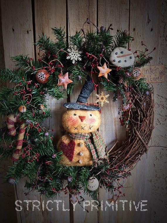 Primitive Snowman Christmas Wreath Christmas Wreath Primitive Wreath Christmas Decor Primitive Christmas Christmas Garland Primitive Christmas Tree