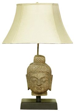 Asian Table Lamps Stone Buddha Head Table Lamp With Shade  Asian  Table Lamps