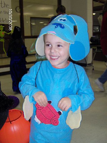 A floppy eared Blue hat tops off this adorable Blue's Clues costume.                 Submitted by: crystalmom33